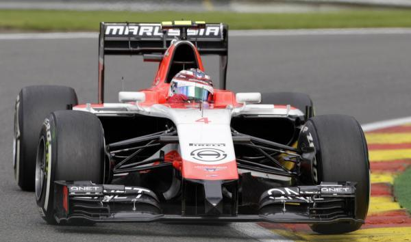 Max Chilton takes a corner in his Marussia car during second practice in Belgium