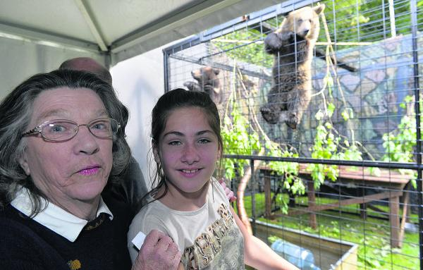 Margaret Turner and Maggie Guest visit the bears' enclosure
