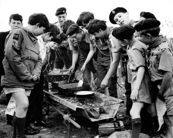Too many cooks?: Members of the 35th Oxford Scouts in charge of the barbecue at the 1967 Blackbird Leys Carnival