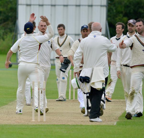 Luke Ryan (far right) and his Oxfordshire teammates celebrate their quarter-final victory over Cumberland at Bicester & North Oxford