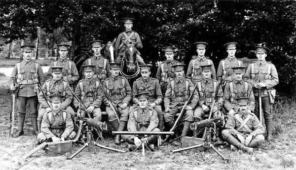 The Machine Gun section of the 2nd Battalion, Ox & Bucks Light Infantry, 1914