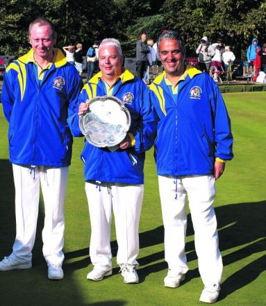 Carterton's team of (from left) Alan Prew, Paul Sharman and David Clanfield pose with their runners-up trophy