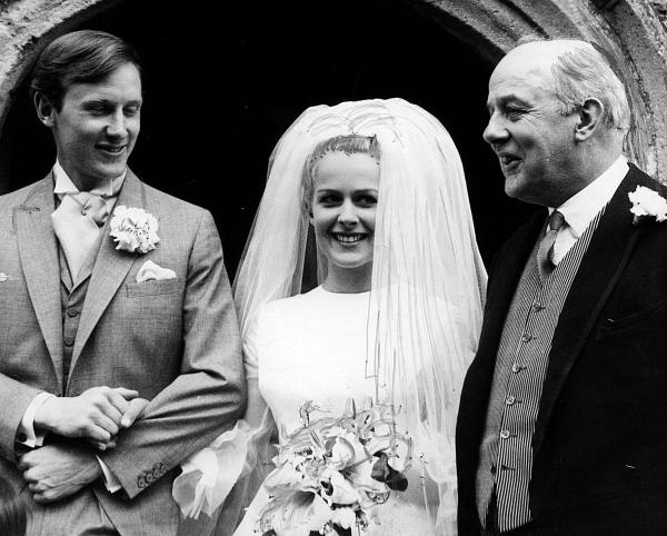 Candida Lycett Green and her husband Rupert with her father, Sir John Betjeman, right,  after her wedding at SS Peter & Paul Church, Wantage, in 1963