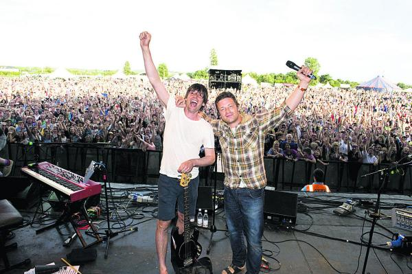 Alex James and Jamie Oliver at the Big Feastival in 2012