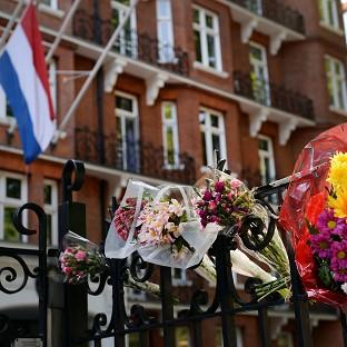 Flowers outside the Dutch Embassy in London to remember the passe