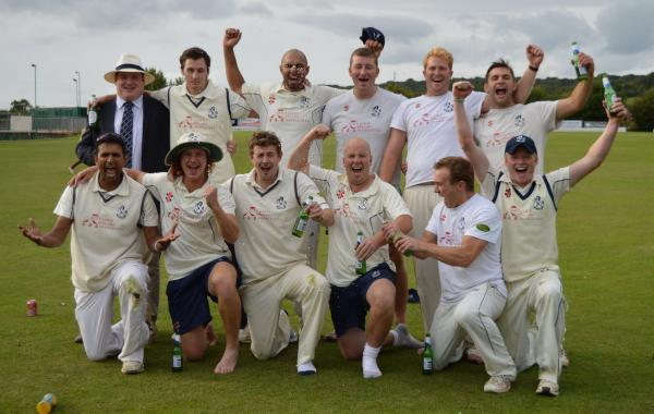 Horspath celebrate promotion after the win over Amersham