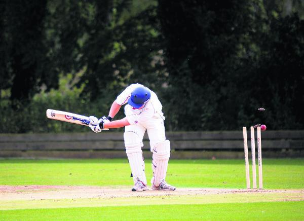 Great & Little Tew 2nd batsman Sam Barnes is bowled during their two-wicket defeat by Sandford St Martin in Division 3 on Saturday.