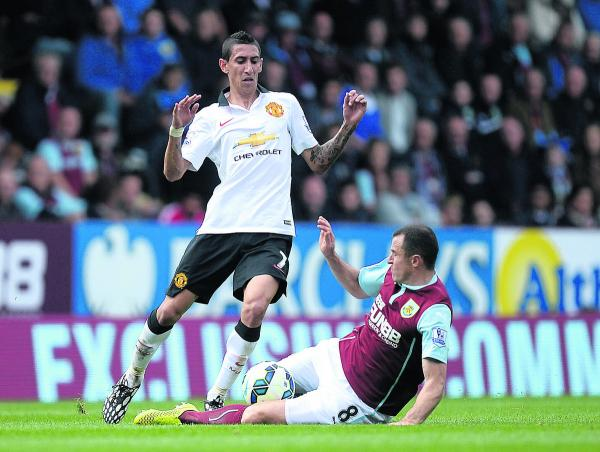 Angel di Maria pictured on his Manchester United debut against Burnley at Turf Moor on Saturday