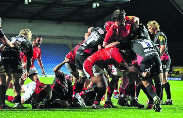 Ben Pienaar drives over for London Welsh's only try against Gloucester