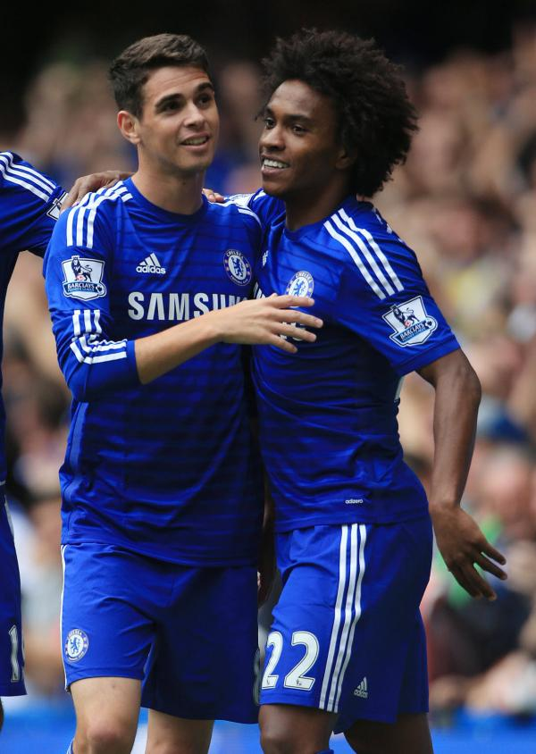 Chelsea, with Oscar (left) celebrating his goal with Willian in the 3-0 win over Aston Villa, got my bet off to a flier