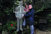 Peter Lovegrove and Pauline Fleming with the Elvis sculpture