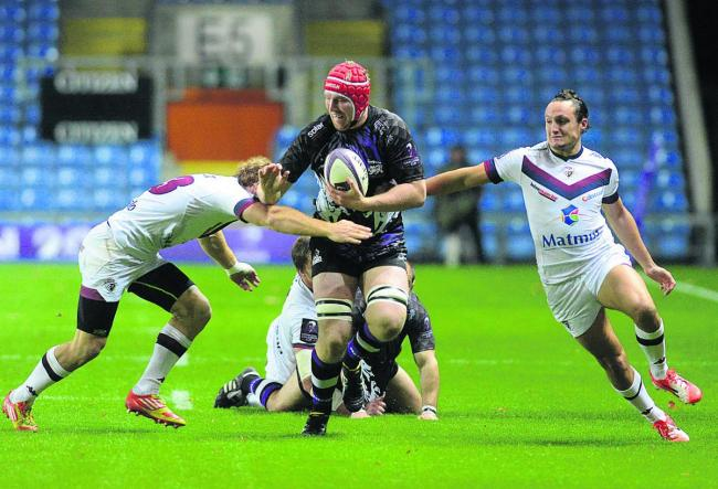 Ben West charges forward for London Welsh in their defeat by Bordeaux