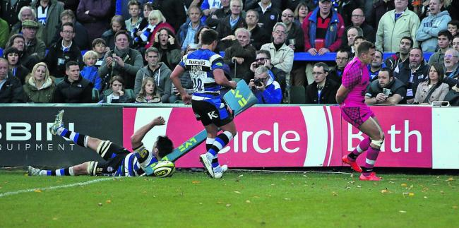 Nick Scott touches down for Welsh's only try   Picture: Martin John