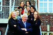 Girls from Headington School, team up with Nick Hewer from The Apprentice to give their business ideas a good start. Nick Hewer is pictured with, from left, Joanna Sutton, 17, Lucy Oliver, 16, Himani Somaiya, 16, Claudia Ing, 17, Lucy Clark, 17, Darcie Cl