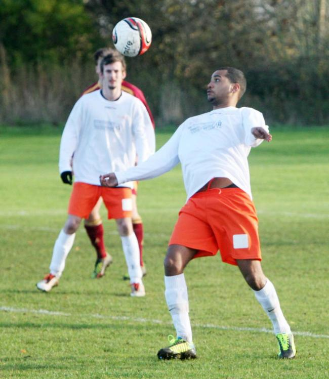 Marley Joseph (front) scored twice in AFC Jericho's 7-1 win over Iffley Harriers