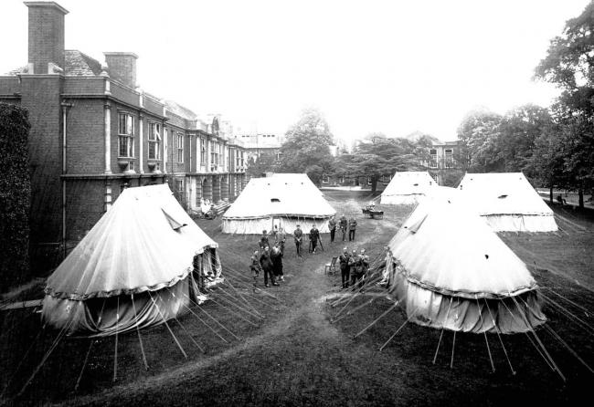 The tents that made up part of a military hospital at Somerville College during the First World War