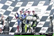 Celebrating taking third place at the Australian Grand Prix – my first podium finish since Mugello in 2011 in the Moto2 class