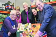 From left, Janet Ray, Bicester food bank project manager, Mayor of Bicester Cllr Lynn Pratt, the Right Rev Colin Fletcher, Victoria Prentis and Banbury MP Sir Tony Baldry