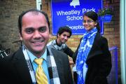 Wheatley Park governor Mark Bhagwandin with his children Victor, 18, and Marisa, 17, who are pupils at the school