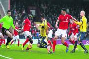 James Roberts scores from close range against York City last month to win the game for Oxford United