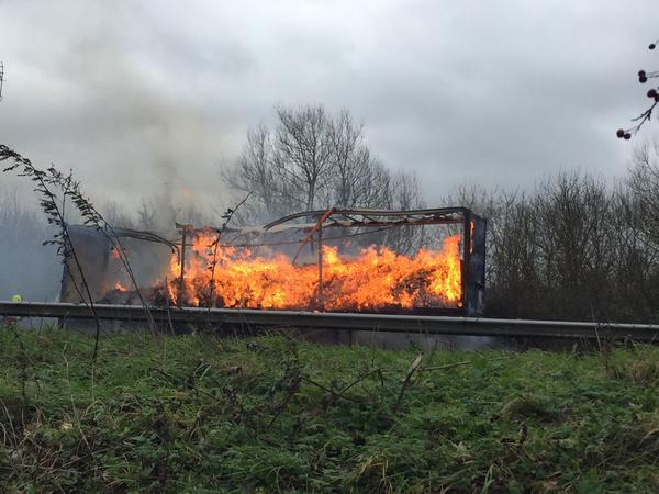 The lorry on fire, courtesy of reader Ben Davies