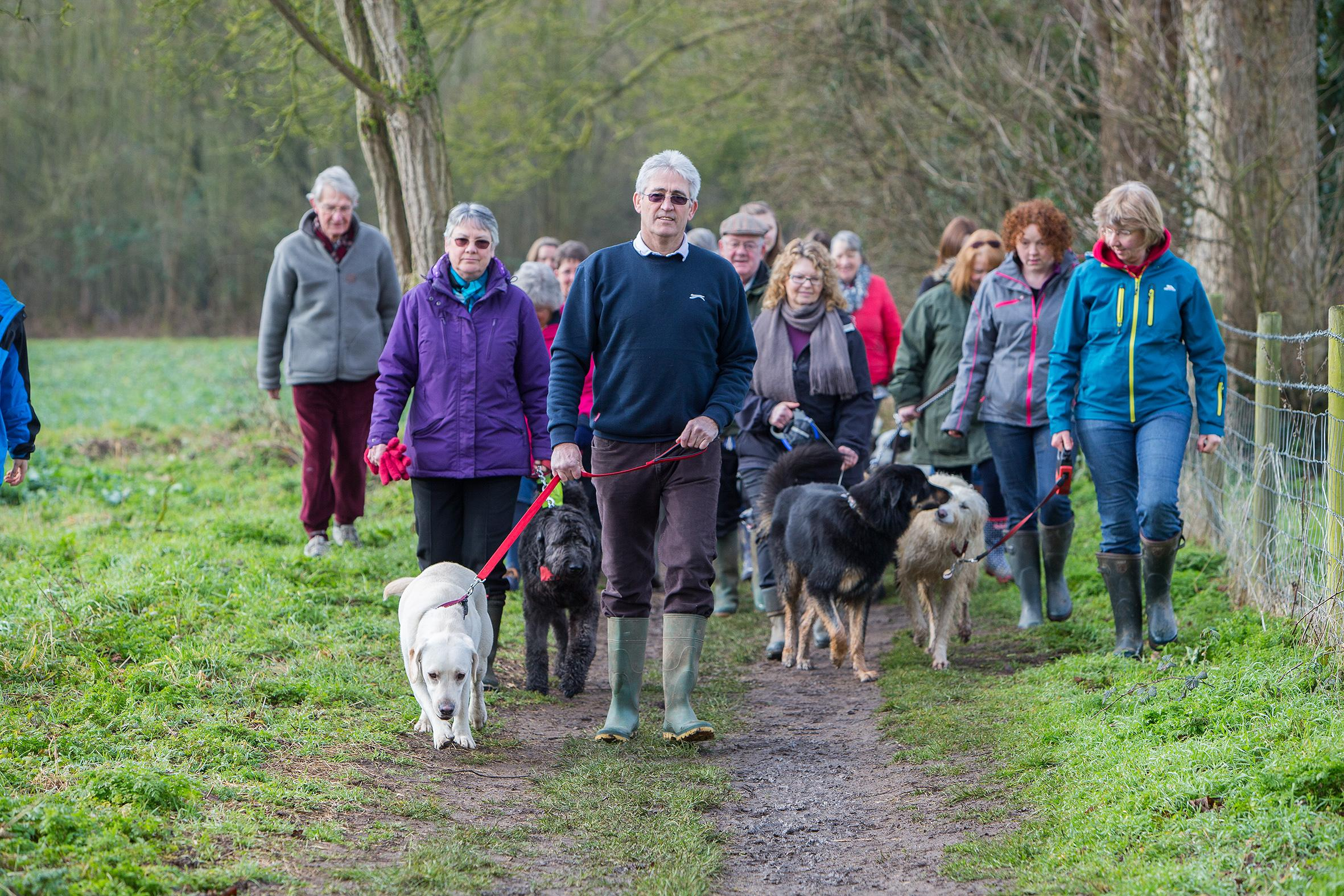 Access: Richard Byrne with dog Frank and other dog-walking villagers in Yarnton