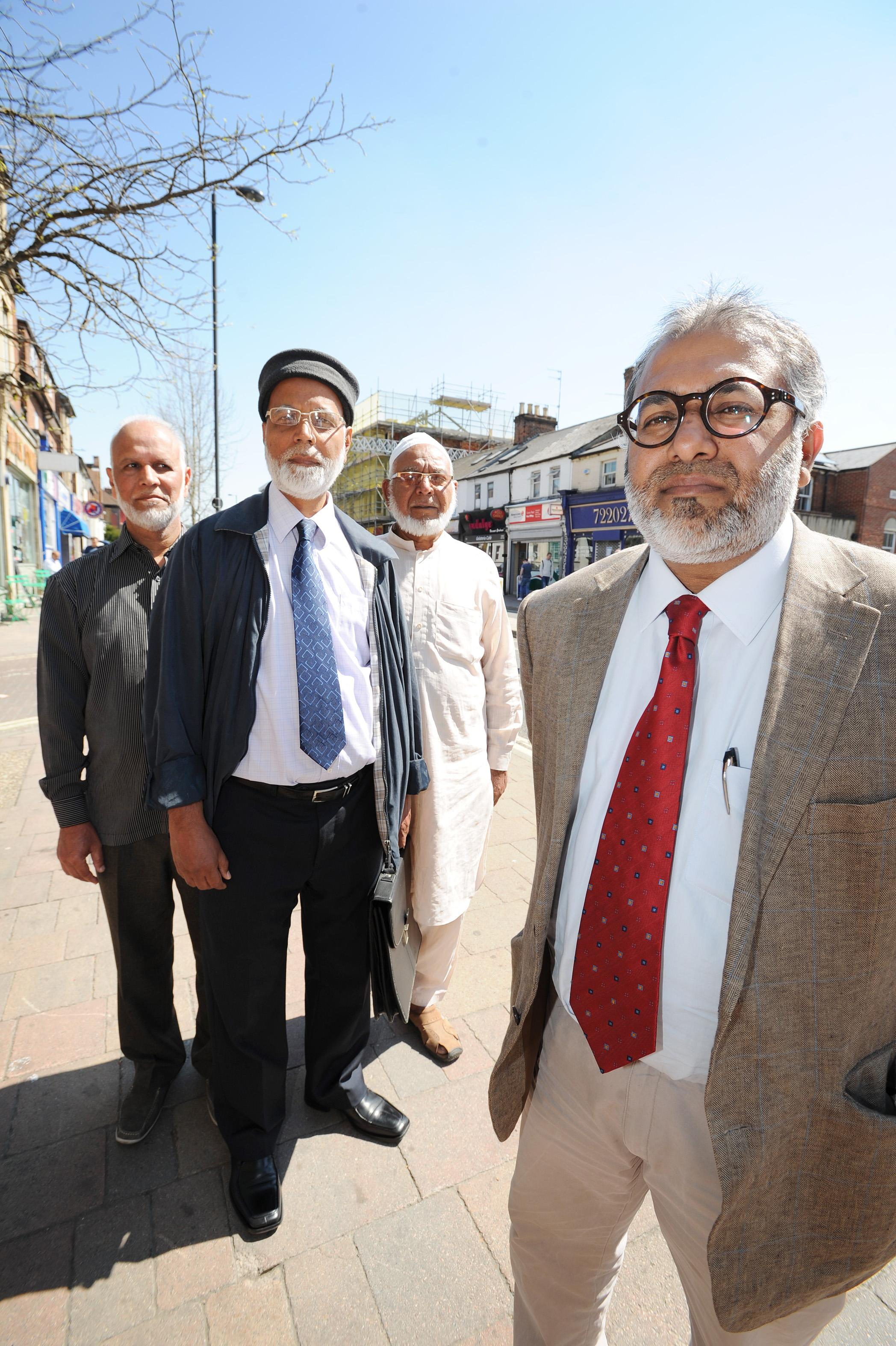 Senior members of the East Oxford Muslim community, from left, Mohammed Nawaz, chairman of Stanley Road Mosque Riaz Ahmed, Imam Monawar Hussain and Abdul Aziz