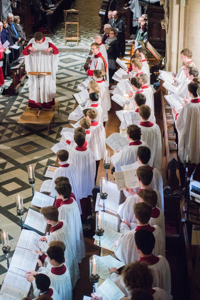 The combined boys' choirs of New College School, Magdalen College School and Christ Church Cathedral School sing Choral Evensong together for the first time in 30 years. Picture: Greg Blatchford