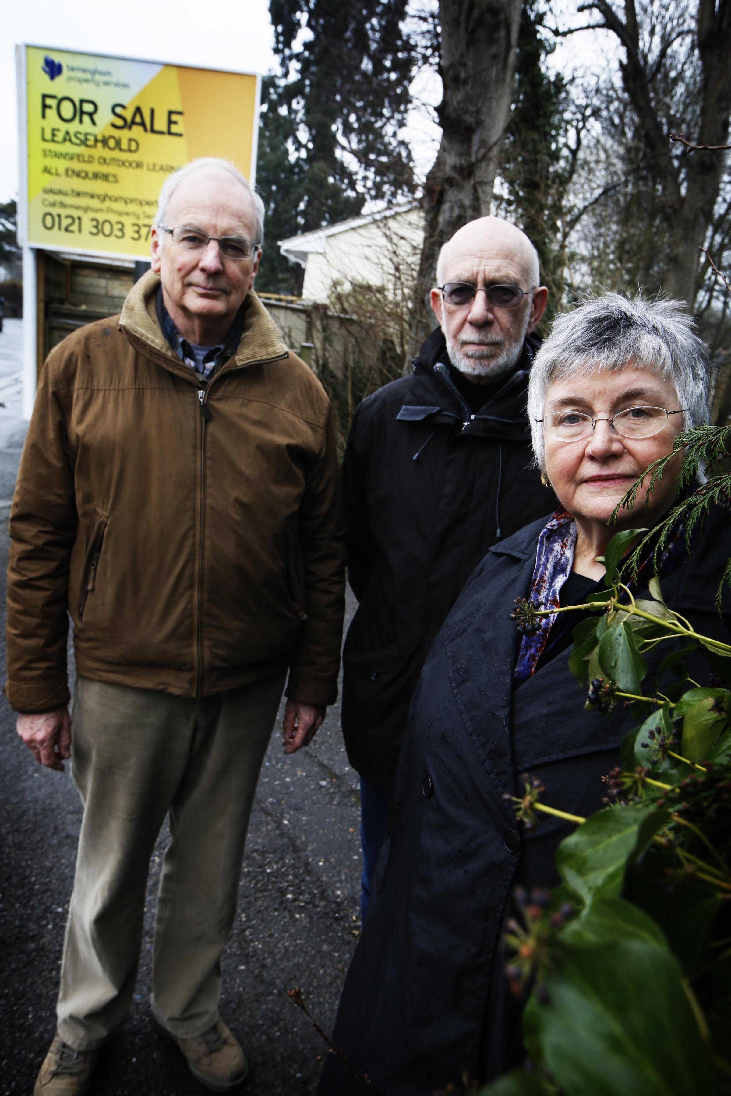 From left, Richard Bradley, resident John Glasson and Marie Vickers, who are campaigning to buy the Stansfeld Outdoor Education Centre. Picture: Ed Nix