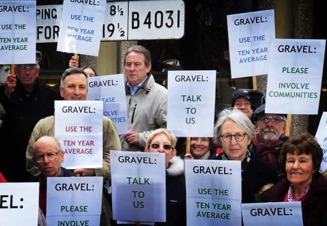 Protesters against the gravel extraction plans outside County Hall yesterday. Picture: Richard Cave