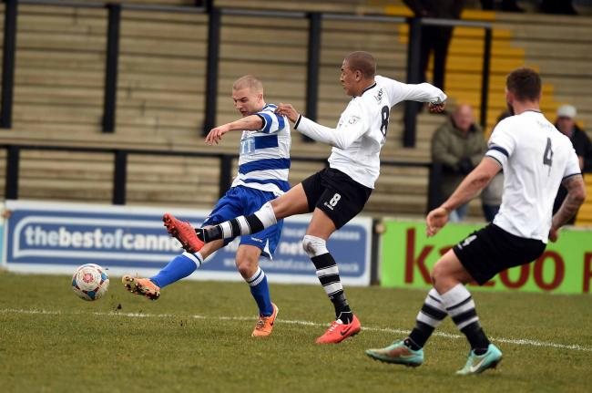 Luke Coulson fires Oxford City ahead at Hednesford
