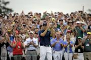 American Jordan Spieth acknowleges the applauds the crowd after winning the Masters championship at Augusta, Georgia in style on Sunday
