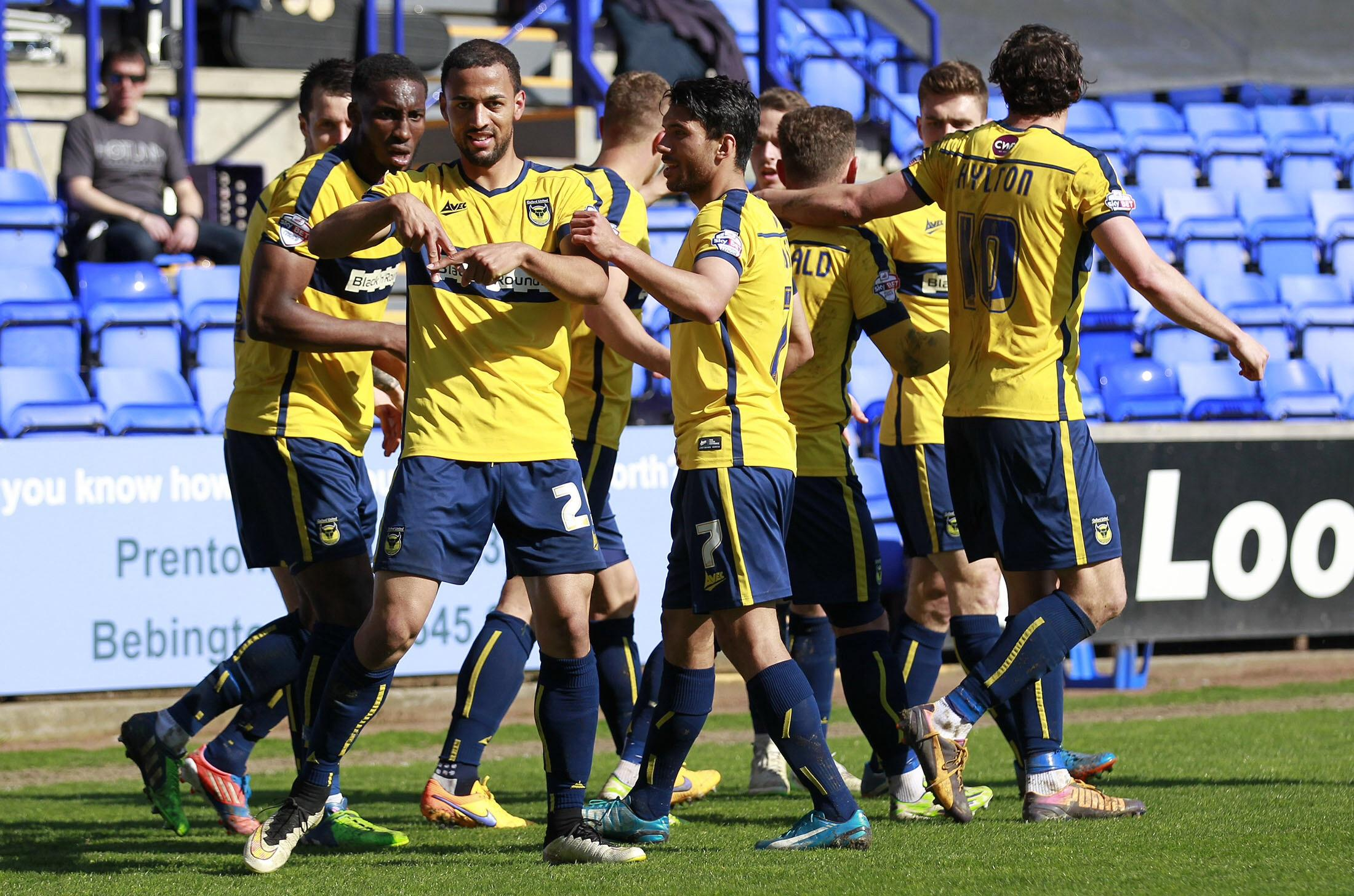 Kemar Roofe celebrates the first of his two goals Picture: Richard Parkes