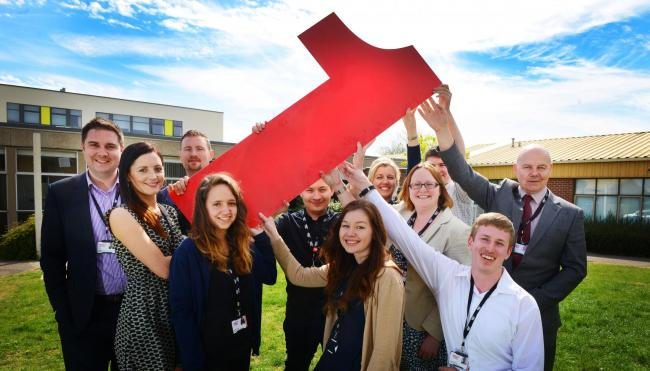 Edward Collett, Grace Wardle, Sam Goose, Sian Farrington, Tom Allen, Megan Clarke, Jane Phipps, assistant principal for apprenticeships Jacqui Canton, Jacob De Goris Jedrzejowski, Julian Maslanyj and Steve Kirk