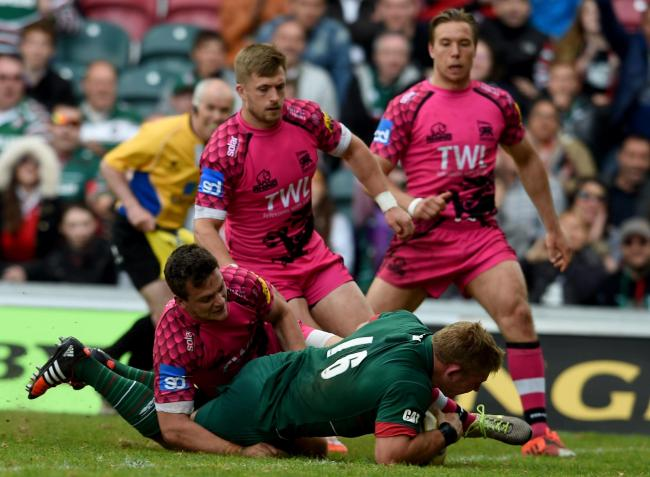 Tom Youngs dives over for Leicester Tigers' final try against London Welsh                    Picture: Getty Images
