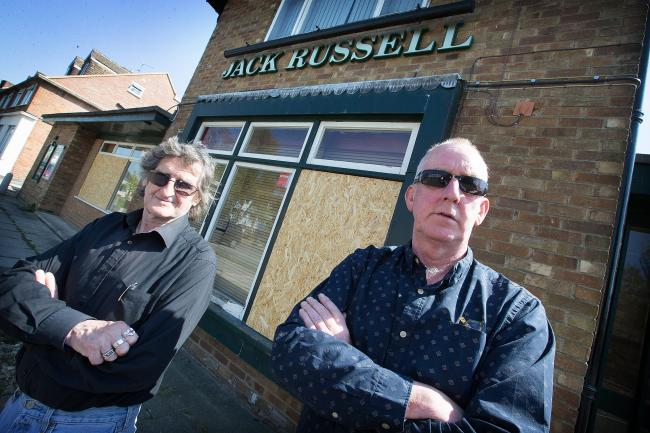Mick Haines, left, with Martin Smith outside the Jack Russell pub in Marston
