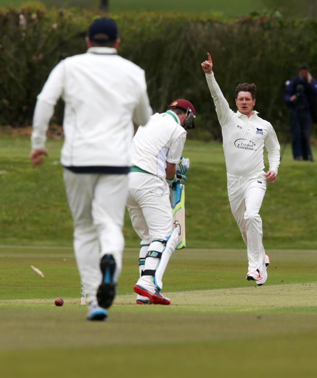 Oxfordshire's Karl Penhale bowls Jack Scriven, one of four wickets for the seamer in yesterday's win over Bucks