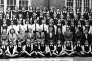 School line-up: Some of the teachers and pupils at Oxford Central School for Girls pictured in March 1949