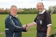 Mal Edmunds with Witney & District FA chairman Paul Bircher Picture: Oli Grove