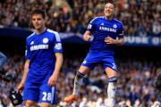John Terry (right) celebrates Chelsea wrapping up the Premier League title, with Cesar Azpilicueta