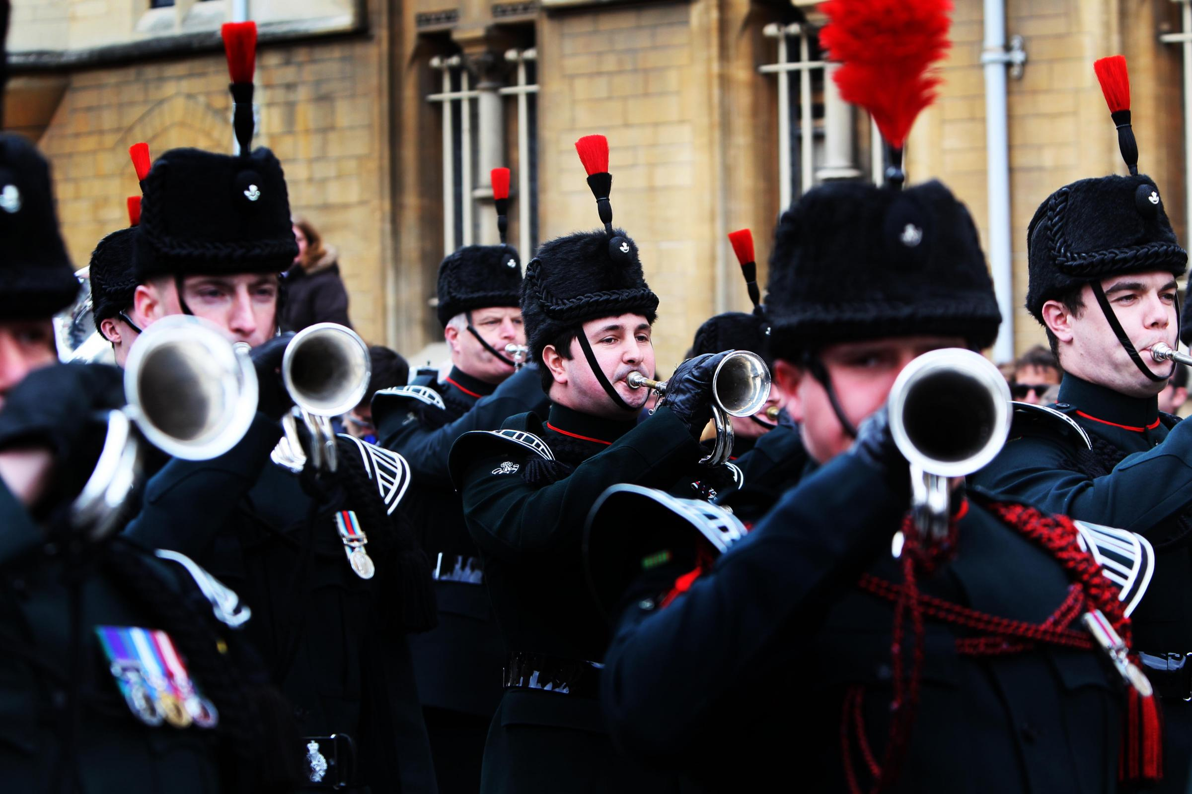 Spectacle: The Army Reserve band the Waterloo Band and Bugles of The Rifles carried out an impromptu flash mob performance in Broad Street, Oxford, in March