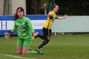 IN A HURRY: Lauren Allison celebrates her goal after 12 seconds as Everton goalkeeper Kirstie Levell can't believe it
