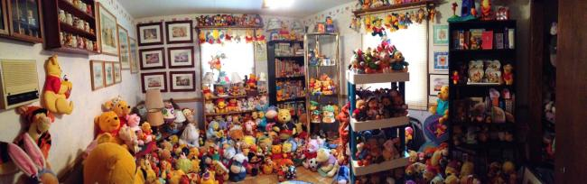Astonishing: One of the rooms housing Deb Hoffman's collection of more than 11,400 characters from Winnie the Pooh