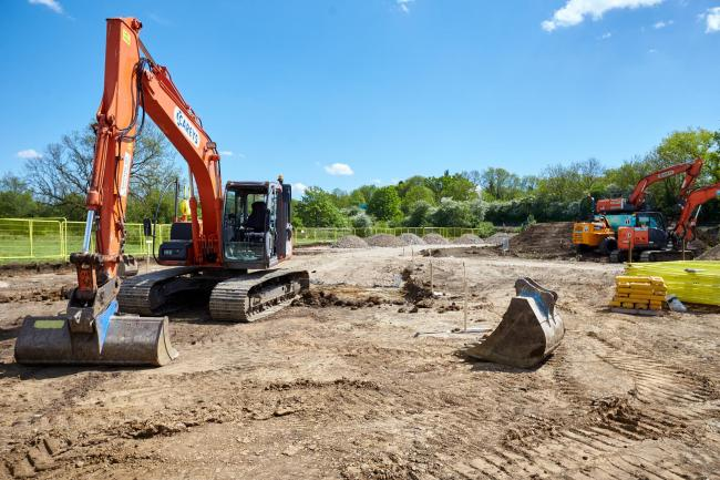 Unearthed: Heavy plant equipment starts work at Barton Park, where archaeologists will carry out a dig