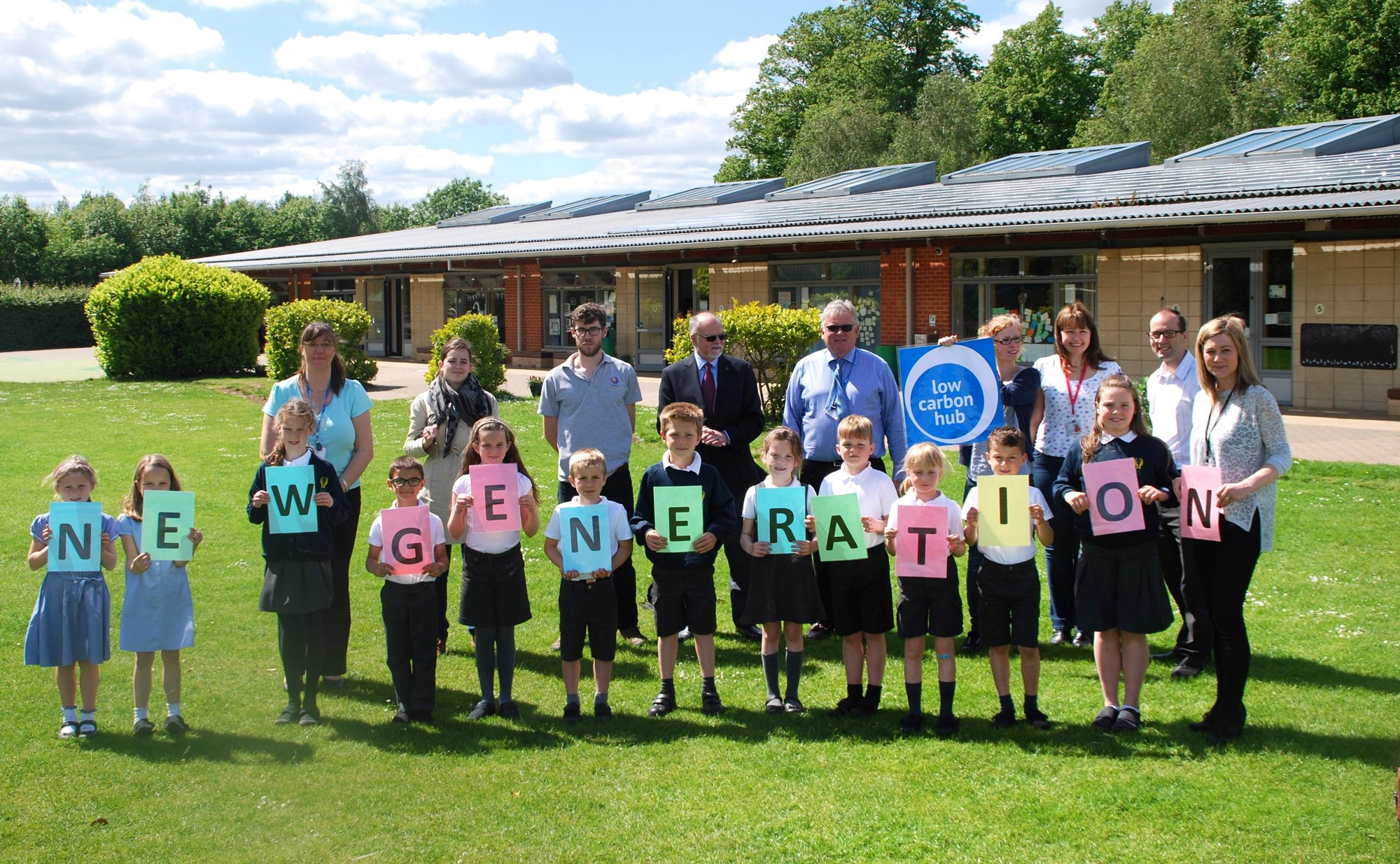 Forward thinking: Bure Park Primary School's eco team, who have been working with Low Carbon Hub on the solar panel installation