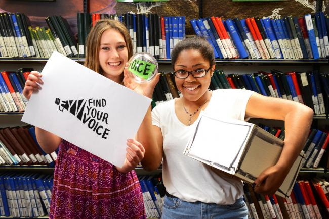 Speak up: Natasha Savulescu, left, and Lauren Harding-Brown at the Westgate Library