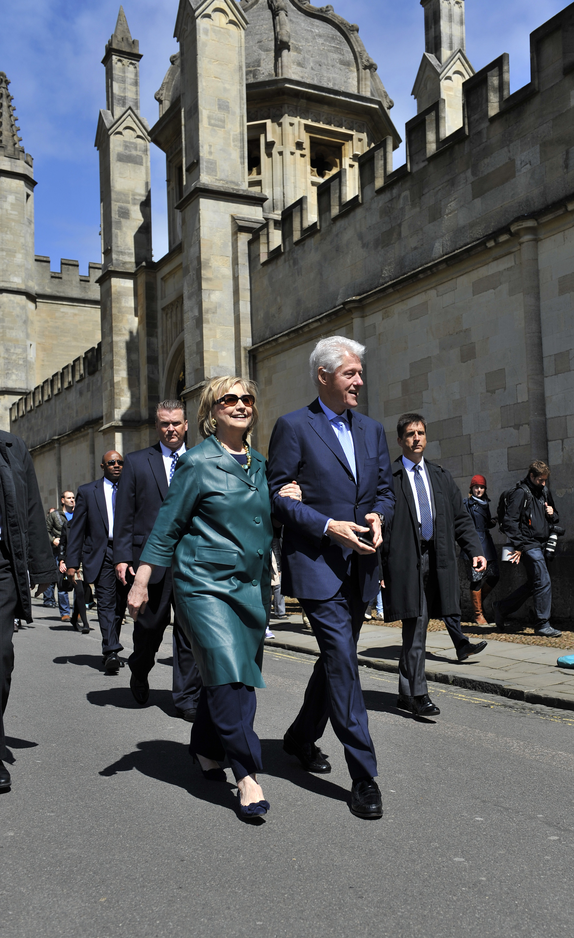 VIPs: Hillary Clinton with former US President Bill Clinton in Oxford in May 2014