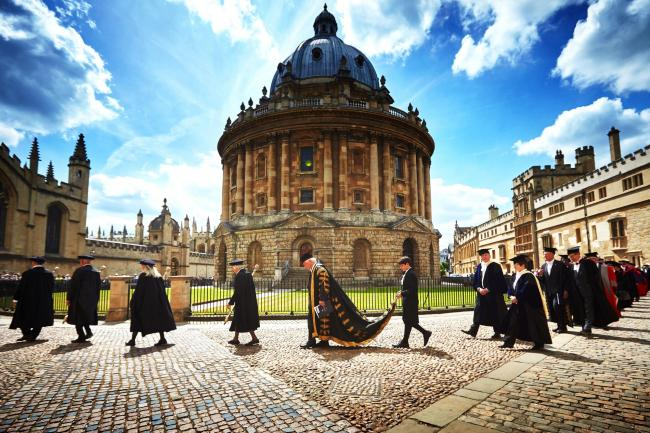 Historic: The Encaenia ceremony, including Chancellor Chris Patten, centre, walking past the Radcliffe Camera