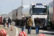 Migrants on the main road into Calais ferry port