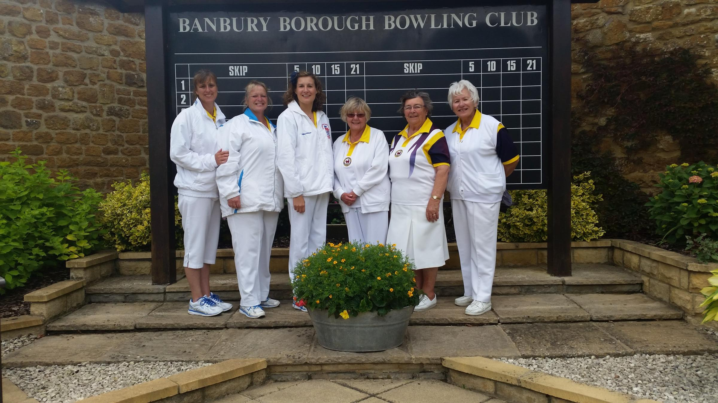 The victorious triples teams. From left: Katherine Hawes, Gail Gilkes, Donna Knight, Jacky Gray, Margaret Stacey and Vicky Harrison